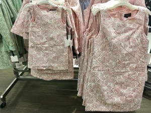 Victoria Beckham for Target blush floral jacquard shift dress girls' and women's dresses. The dresses are shift shaped.