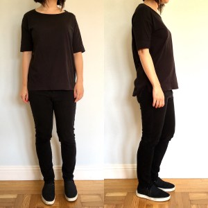 Everlane drop-shoulder tee, modeled by me shown from front and side.