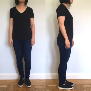Everlane cotton V shirt, as modeled on me. Shown from the front and side.