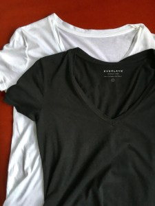 Everlane cotton v tee, shown in white and black on a red background.