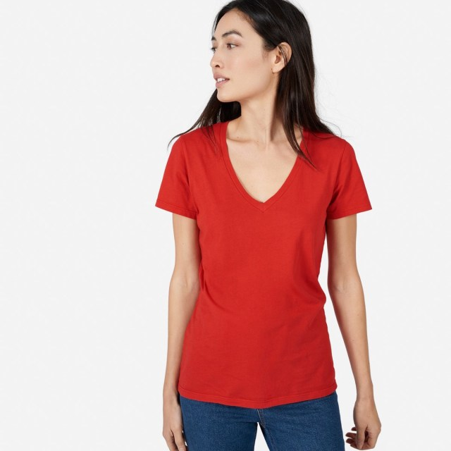 72ece5610be Everlane cotton v tee, as worn in red by a white woman with dark hair