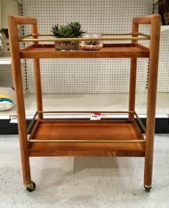 Target wooden bar cart as seen in the store. With faux succulents on it.