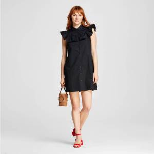 Target who what wear tie sleeve shift dress as modeled on a white woman with red hair.
