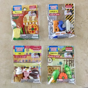 Daiso erasers of food and vehicles.