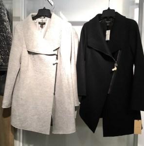 Halogen boiled wool coat with asymmetrical zip. One in gray, one in black.