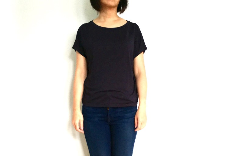 Uniqlo drape crewneck tee, modeled on me.
