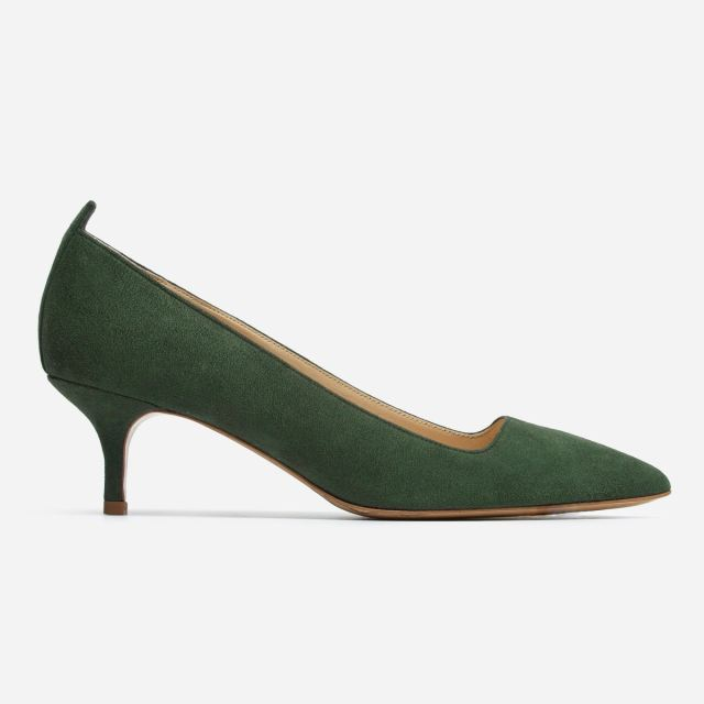 Everlane Editor Heel as seen from the side. This one is green. It has a small kitten heel.