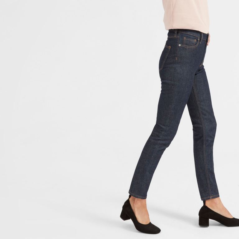 Everlane High Rise Skinny Jeans, as worn by a model.