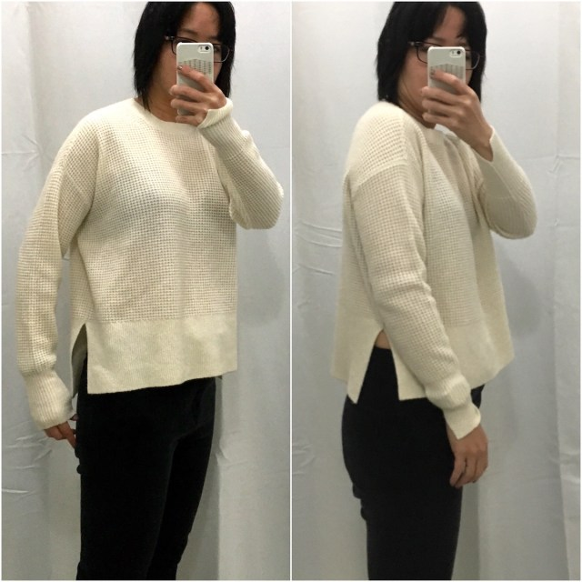 Everlane waffle knit square sweater, as shown from the side in XS and XXS.