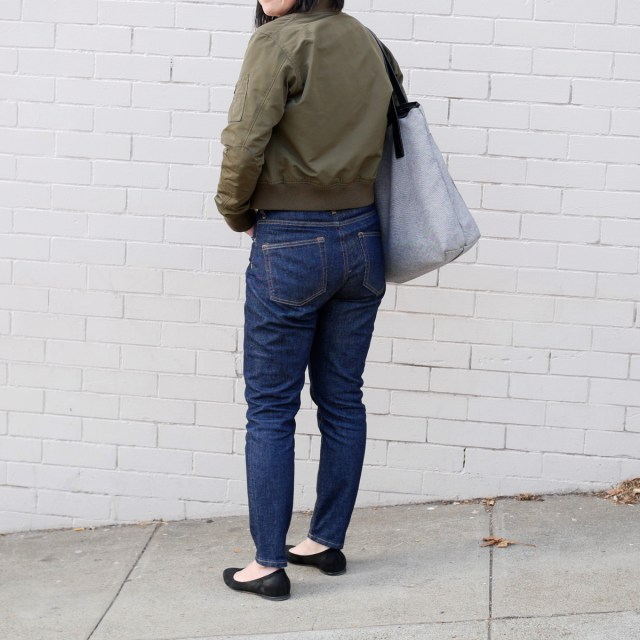 Everlane high-rise skinny jeans from the back.