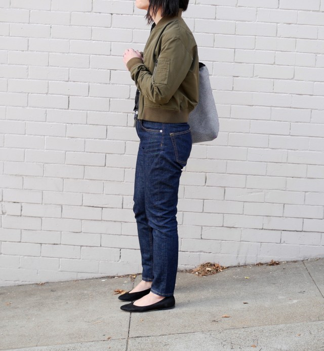 Everlane high-rise skinny jeans from the side.
