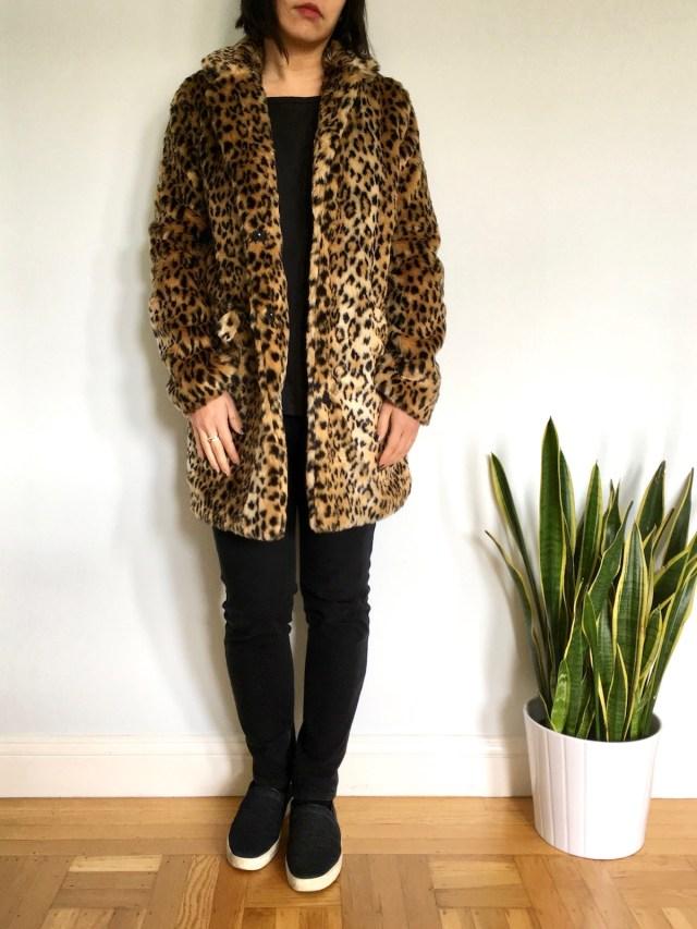 c2c798d9aff A New Day Leopard Faux Fur Coat    Everlane Drop-Shoulder Tee  review      Uniqlo High Rise Jeans  similar     Rag   Bone Slip-On Sneakers  similar   ...
