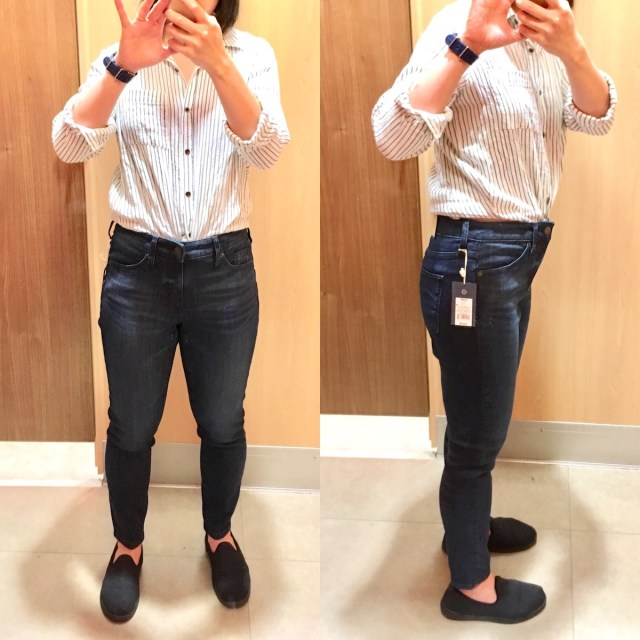 8d89537e0378a Me taking selfies in the fitting room, wearing high-rise jeggings. Front  view Universal Thread ...