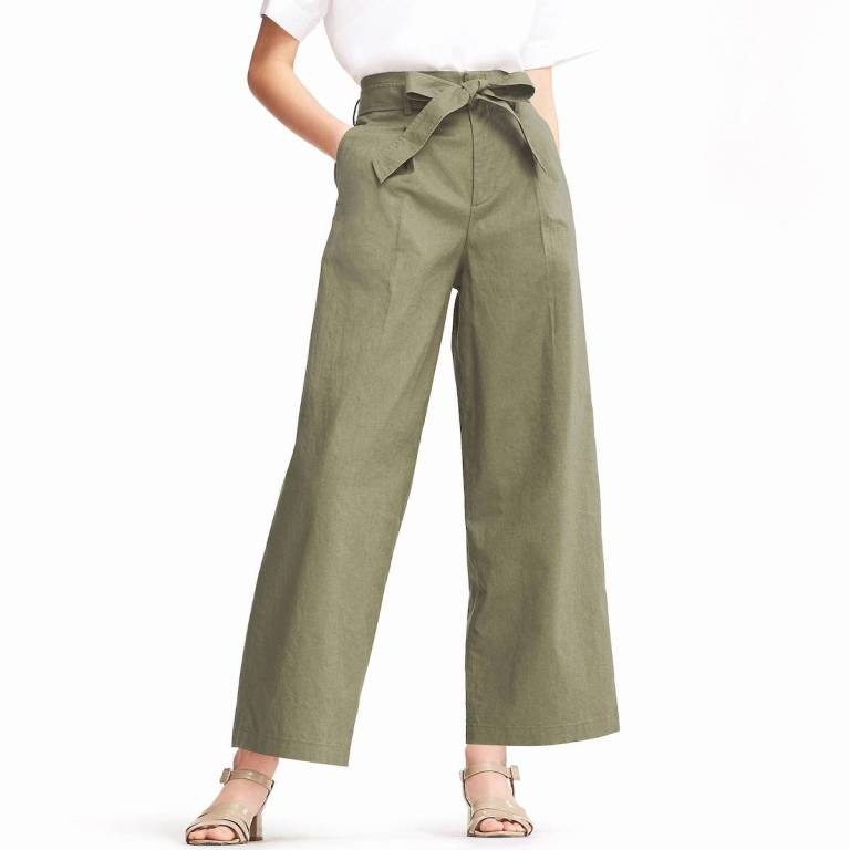 Uniqlo wide cotton linen pants, with a fabric belt