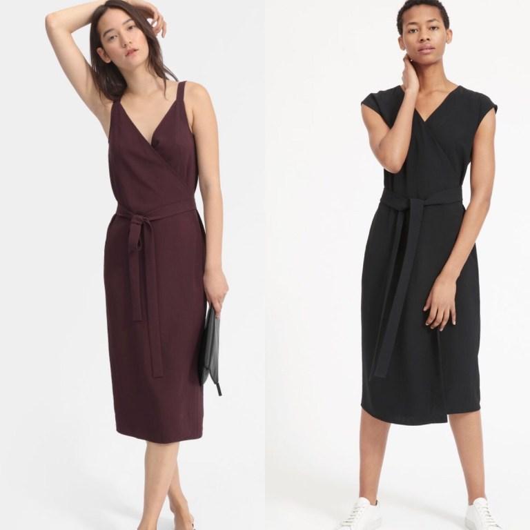 2 models wear wrap dresses