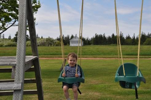 Having some fun on the swings