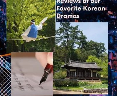 Korean Historical Building. Dancer act in Korean traditional Clothing. Writing Pen.