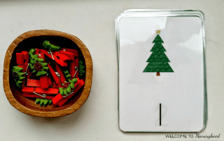 Checkout these Montessori printables - Christmas Tree Number Cards 3 Ways! Learn how to download your own free Montessori printables on the blog! #christmasactivities #montessoriprintables