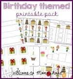 Birthday themed printable pack for kids