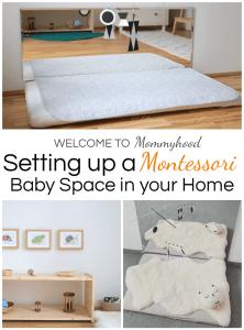 Montessori baby spaces: learn about how to set up a Montessori baby space on the blog! #montessorihome #montessoribaby #montessori