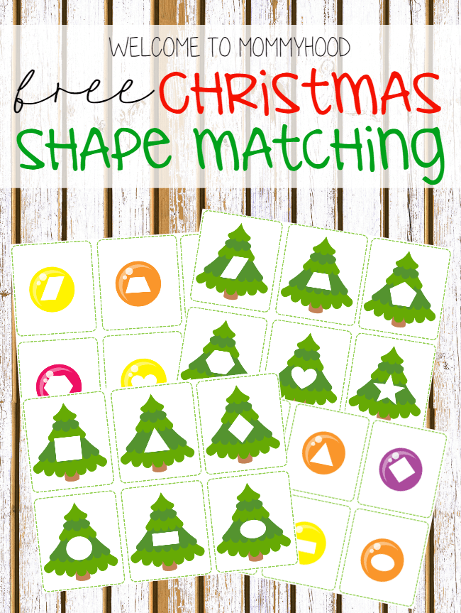 Toddler Christmas Shape Matching Printables
