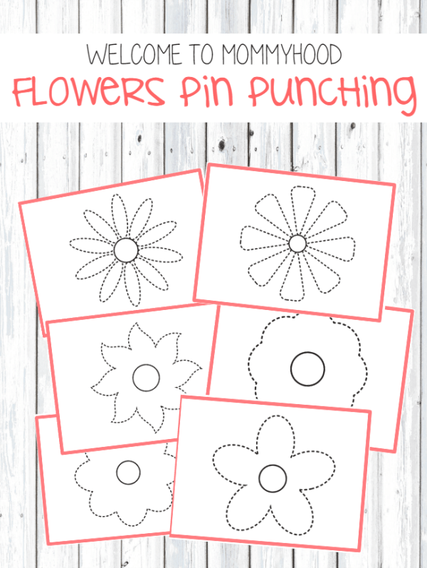 Flowers pin punching printables #montessoriactivities, #montessoriprintables