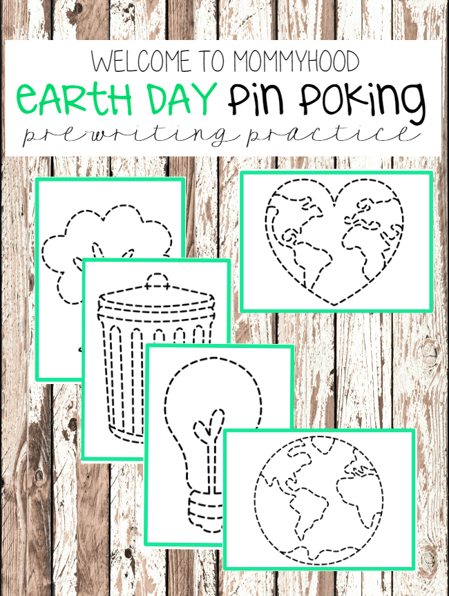 Earth Day pin punching Montessori printables
