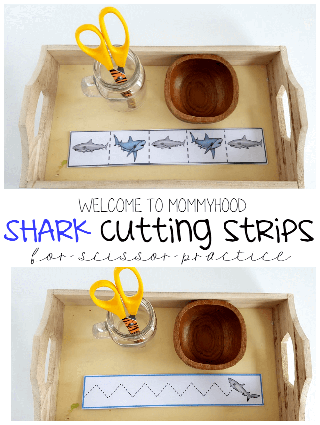 Montessori Printables shark cutting strips for developing scissor skills