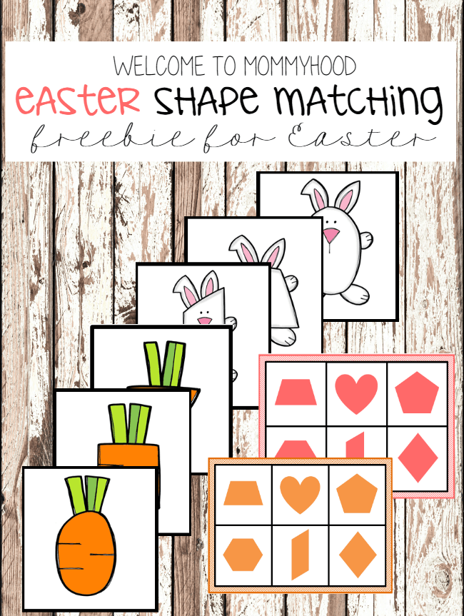 Easter preschool activities: Easter shape matching