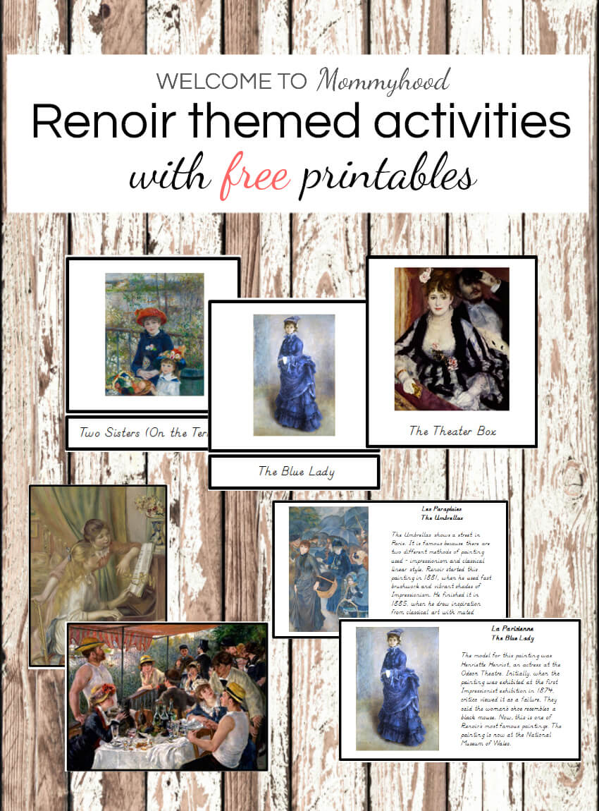 Art Projects for Kids: Montessori Renoir Printables and Activities art #artactivities #artprojectsforkids #preschoolactivities