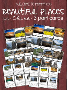 Beautiful places in China 3 Part Cards and information Cards #montessoriprintables