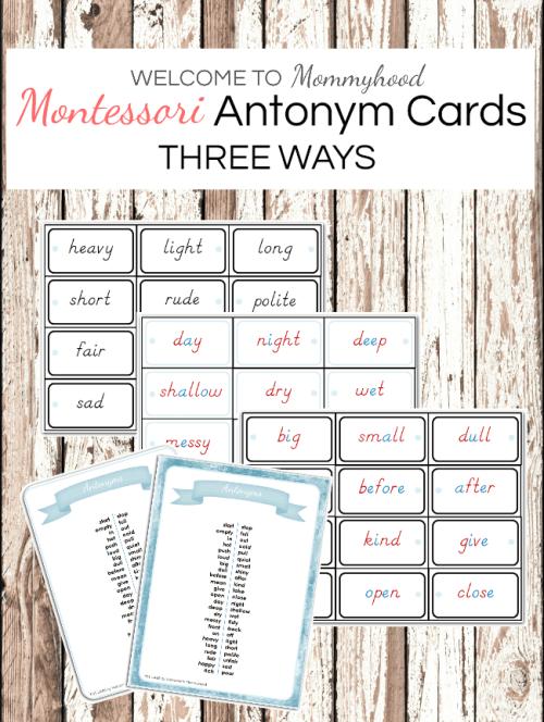 Montessori Antonyms Cards