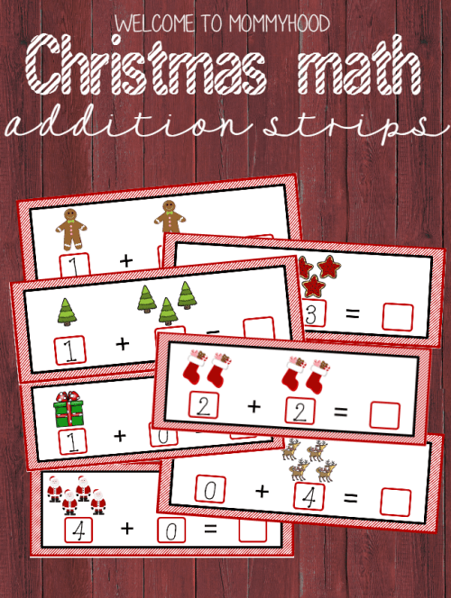 Christmas Addition Strips for Christmas Activities for Kids WtM