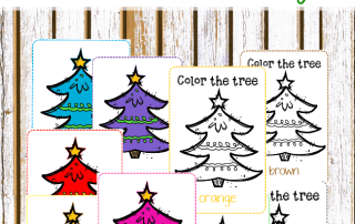 Christmas tree color cards are perfect for Christmas activities for kids! Use these fun Christmas themed printables to practice colors! #ChristmasActivities #christmasactivitiesforkids Learn more on the blog!