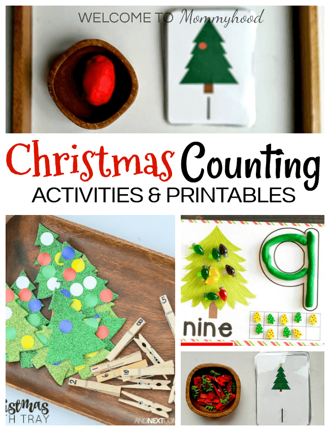 Use any of these awesome Christmas Tree Counting Activities for kids to create fantastic Christmas Learning Activities! Easy to set up kids activities! #christmasactivities #christmaskidsactivities