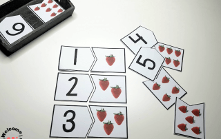Use our strawberry number puzzles to create fun hands-on math activities for kids. These are perfect for math centers! #mathactivities #preschool