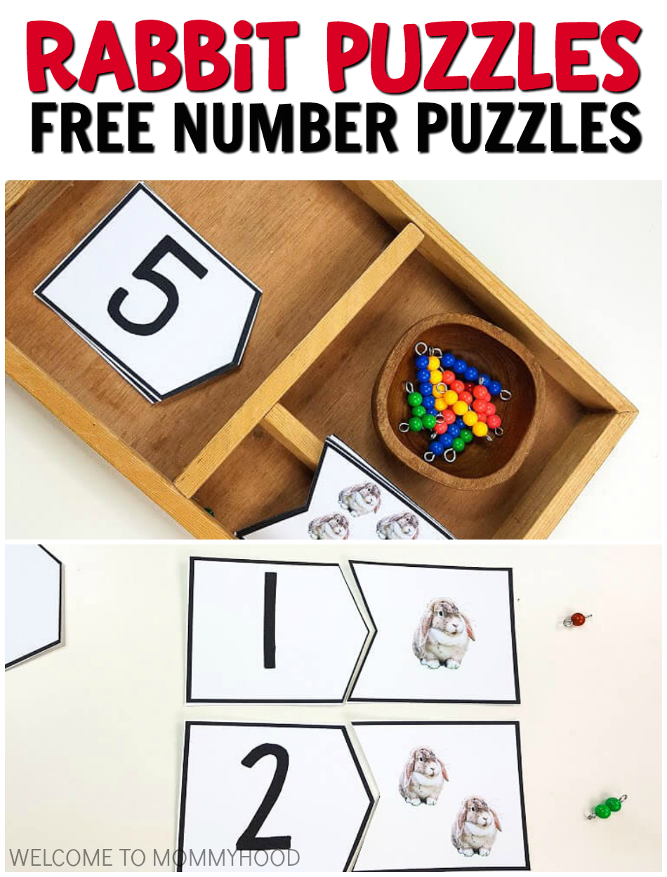 Farm Theme for Kindergarten Rabbit Number Puzzles