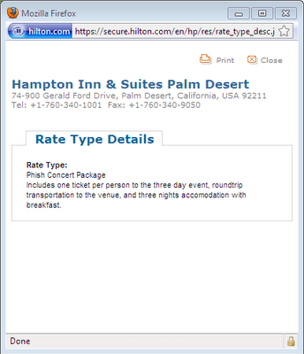 Hilton Inn Indio Screenshot - 7/21/09