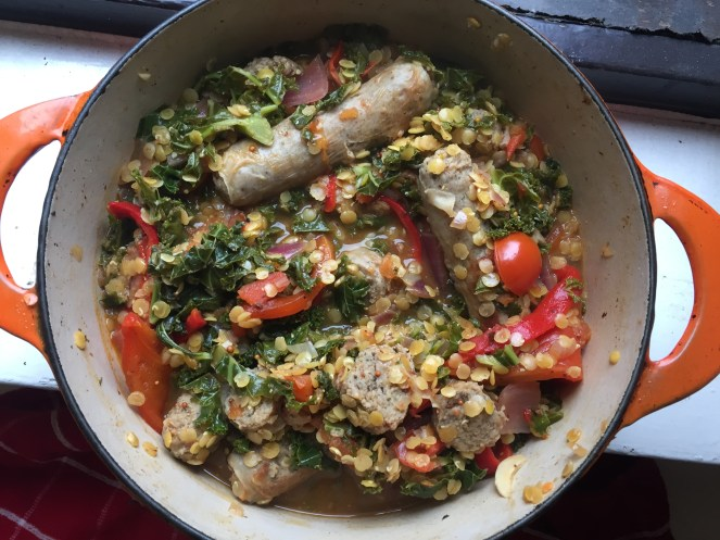 1. Sausage, lentil, & various veg