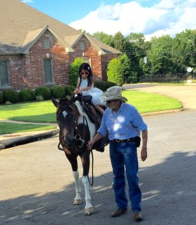 """Riding """"Gorgeous"""" a horse that lives down the road from us"""