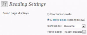 These settings will change the front page of your blog