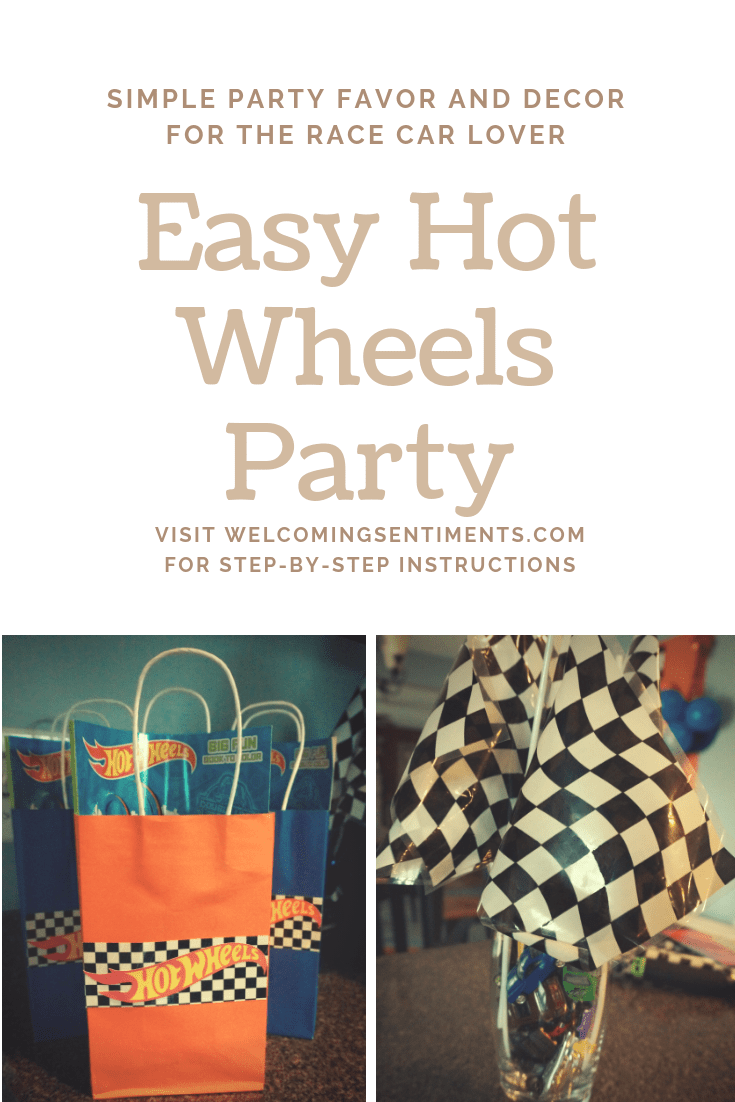simple hot wheels race party decorations and favors