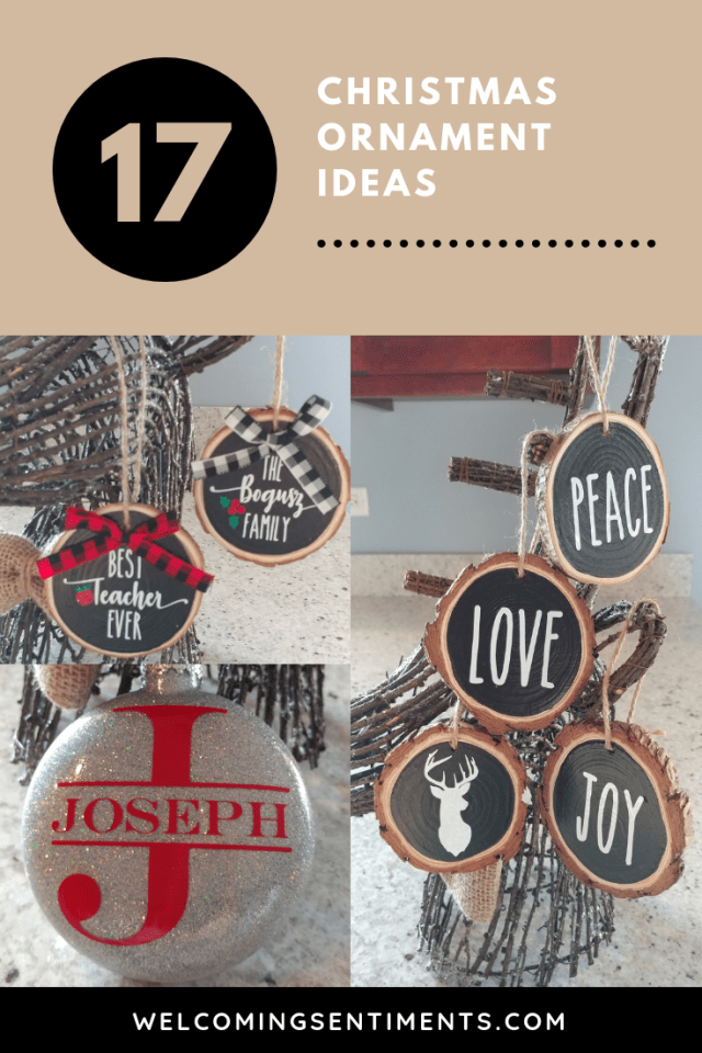 peace, love, joy, name, teacher, family ornament