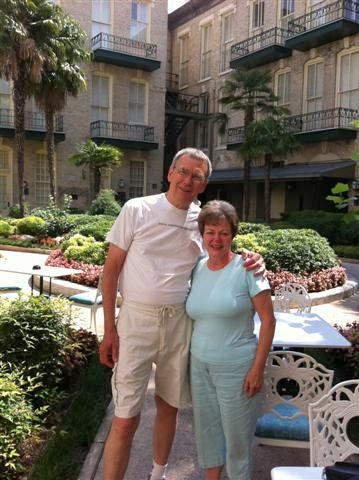 Paul & Dorothy in the courtyard.