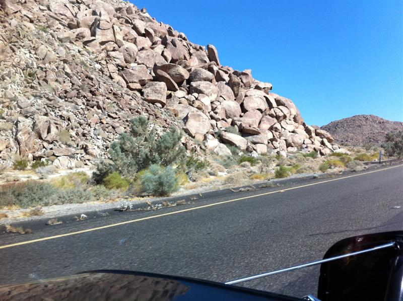 4:02 pm - now we're seeing larger rock mountains. Altitude: 1306 ft.