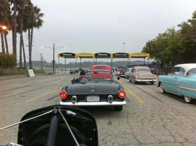 7:00 am - Arriving at La Roadster Show at the Pomona Fairplex. Following Chick Koszis in his sweet 55 T bird.