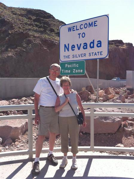 Welcome to Nevada - we're actually on foot at the Hoover Dam site.
