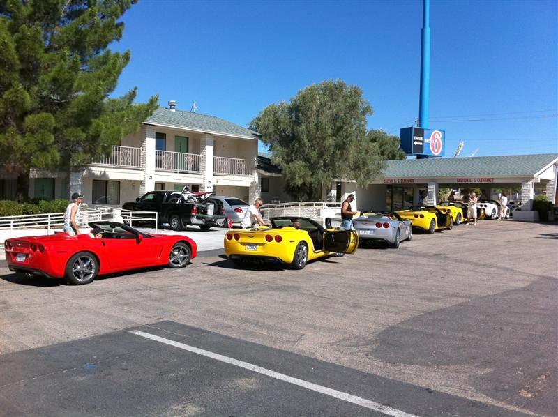 Their group of 22 guys & gals pull out of the motel for the next leg of their adventure.
