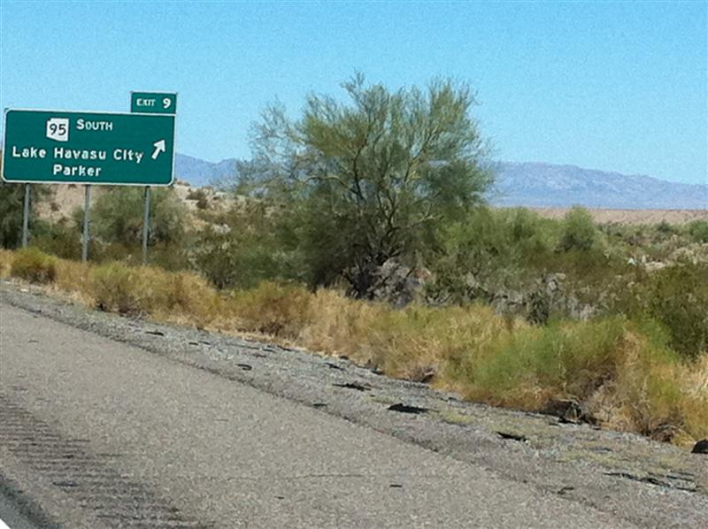 Approaching Lake Havasu City, AZ. Our friend, Jim Prowse from London, Ontario gave us the names of some friends of his from Lake Havasu City and said we should give them a call.
