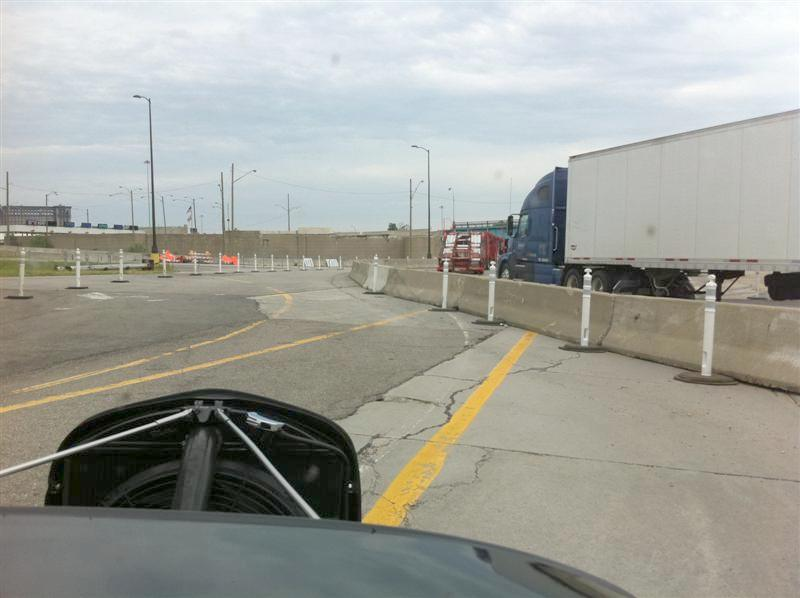 Permanent condition at the Detroit border. They must move the concrete dividers around on a regular basis so the roads won't get worn out in the same lanes! Each year it seems you drive a different path to get to customs.